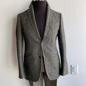 Herringbone Tweed Blazer+Tan Corduroy Elbow Patch